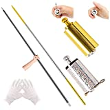 ANYI 2 PCS Magic Pocket Staff, 43.3 Inch Metal Appearing Cane Magic Wand, Portable Collapsible Staff with Gloves for Street Magic Trick Stage Magic Show Professional Magicians (Black, Gold Silver)