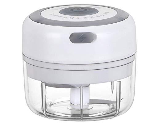 Mini elektrische Knoblauchpresse, leistungsstarke kabellose elektrische Knoblauch Fleischwolf Mixer Mixer zum Hacken von Obst Gemüse Knoblauch Zwiebel für Küchenzubehör (weiß)