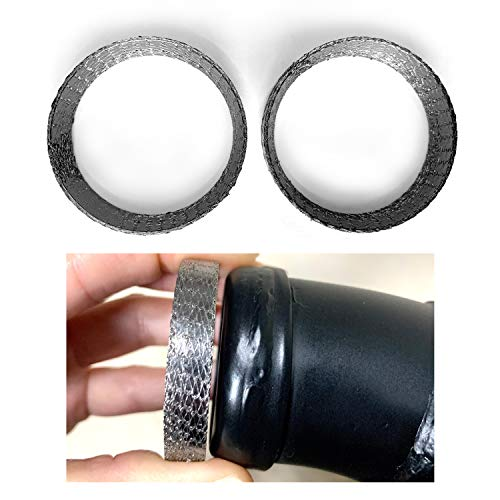 vanjoy Exhaust Gasket for Harley, Made of Graphite and Steel Mesh For 1984-2021 Most Harley Davidson Bikes, Touring, Sportster, Dyna, Softtail, Evo, etc. 1 Pair 2pcs