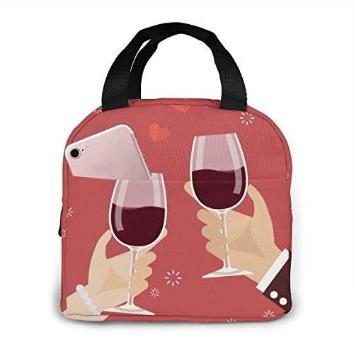 Día de San Valentín Hombre y mujer brindando copas de vino Bolsa de almuerzo Caja de asas térmica aislada reutilizable