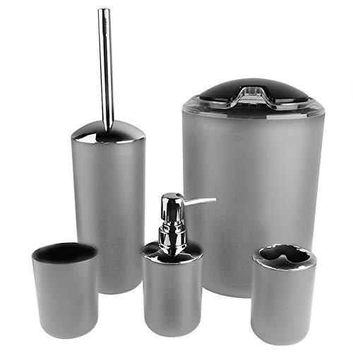Cocoarm 6tlg Badzubehör Set Bad Accessoires Set mit Zahnbürstenhalter, Spülbecher, Mülleimer, Seifenspender, Seifenkiste und Toilettenbürstenhalter (grau)