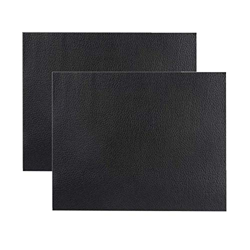 Ofima 2 Stück Selbstklebender Leder Reparatur Patch, Flicken Selbstklebend Patch, Erste Hilfe für Sofas Autositze, Handtaschen Jacken, Fix Löcher, Risse, Verbrennungen, Flecken (Schwarz, 20x40cm)