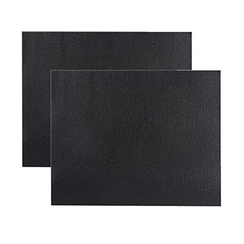 Ofima 2 parches autoadhesivos de piel para reparación de sofás, asientos de coche, bolsos, chaquetas, agujeros de fijación, grietas, quemaduras, manchas (negro, 20 x 40 cm)