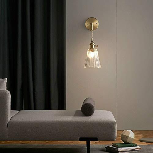 LED wandlamp binnen, LED wandlamp binnen modern single head glazen wandlamp E27 LED creatief gestreepte Copp, ah wandlamp glazen lampenkap woonkamer, stroombron: LED wit licht 5W wandbel