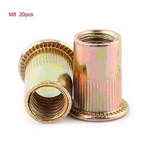 Wendry Nietmuttern, Rohrnieten mit Innengewinde und Senkgewinde, M3-M12-Nietmutter aus Kohlenstoffstahl mit Flachgewinde, Nietmutter-Sortiment(M8 (20PCS))