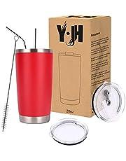 Y·J&H resebehållare med dubbla väggar, vakuumisolerad kaffemugg i rostfritt stål med 2 stänksäkra lock, 2 sugrör och gratis rengöringsborste, BPA-fri