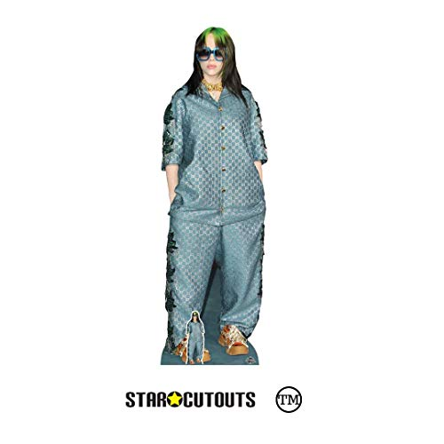 STAR CUTOUTS CS824 Billie Eilish Shades Green Hair Lebensgroßer Pappaufsteller mit Mini-Tischaufsteller, Höhe 163 cm, Mehrfarbig