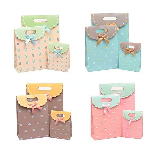 Geschenktaschen, klettverschluss Geschenktüte, mit Klettverschluss Papiertüten Geschenktüten, Kindergeburtstag Weihnachten Geschenktüten (3 Größe * 4 Farben)
