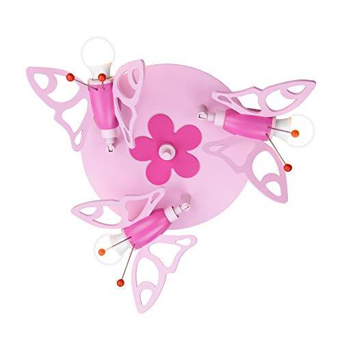 Elobra Kinderlampe Schmetterling aus Holz, E14 Deckenleuchte, rosa pink, 30 x 30 x 20cm