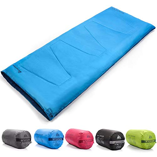 meteor Saco Dormir Rectangulares - Ideal para niños y Adultos en Viaje Camping Funda vivac Festival Hotel Acampada Senderismo al Aire Libre Portátil con Saco de Compresion Snooze (Azul)