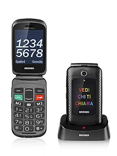 Brondi Amico Fedele, Telefono cellulare GSM per anziani con tasti grandi, tasto SOS e funzione da remoto, dual SIM, volume alto, Dual Sim Nero