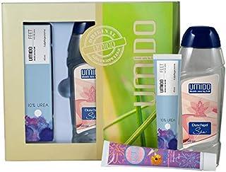 UMIDO Beautyset Hand-Lotion 45 ml Ringelblume, Duschgel 250 ml Spa & Fußcreme 45 ml 10% Urea- 2 x 45 ml – 1 x 250 ml  Geschenk-Box 6-BYS