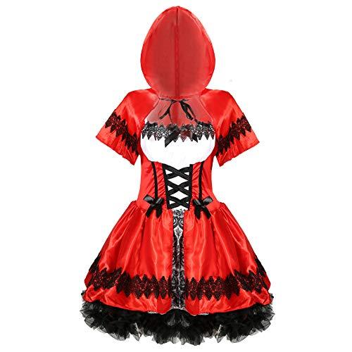 Más el tamaño de las mujeres de Halloween Cosplay de las mujeres Caperucita Roja Disfraz Uniforme de juego