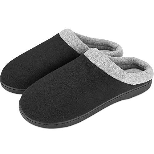 Puricon Zapatillas de Estar por Casa de Hombre, Pantuflas de Forro Polar Suave con Suela Antideslizante de Espuma con Memoria, Zapatillas de Vellón para Otoño Invierno -Negro