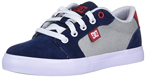 DC boys Anvil Skate Shoe, Grey/Red/White, 5.5 Big Kid US