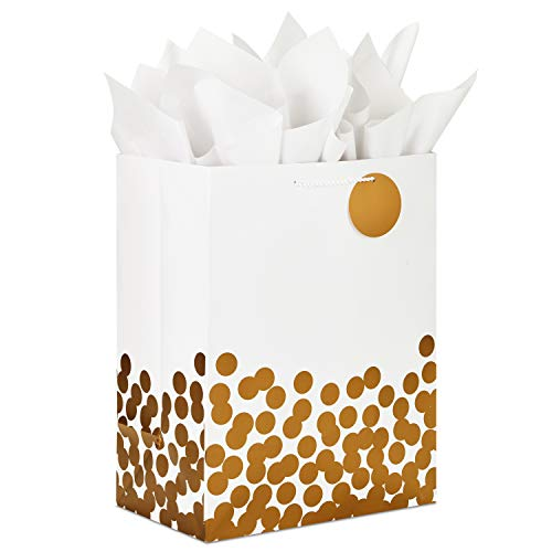 Hallmark 17' Extra Large for Christmas, Hanukkah, Weddings, Valentine's Day, Graduations Gift Bag with Tissue Paper, Jumbo, White with Gold Foil Polka Dots