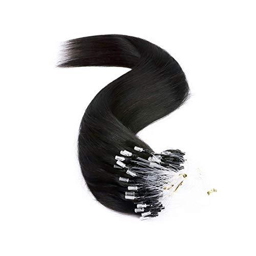 Extension Cheveux Naturel a Froid Loop 1g - Rajout Micro Anneaux Cheveux Humain - 50 Mèches 50g (#1B NOIR NATUREL, 45 cm)