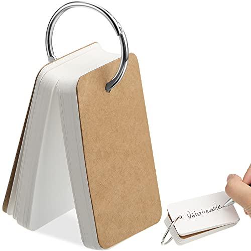 100 Hojas Mini Bloc de Notas Mini Tarjeta Flash en Blanco Tarjeta de Estudio Palabras Mini Cuaderno Tarjeta de Revisión de Papel Kraft Blanco con Anillo de Carpeta Metal, 2,8 x 1,6 Pulgadas