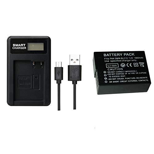 1 unids 1800 mAh DMW-BLC12 DMWBLC12 batería con Cargador de batería para Panasonic Lumix FZ1000, FZ200, FZ300, G5, G6, G7, GH2, DMC-GX8(1 pcs Battery with Charger)
