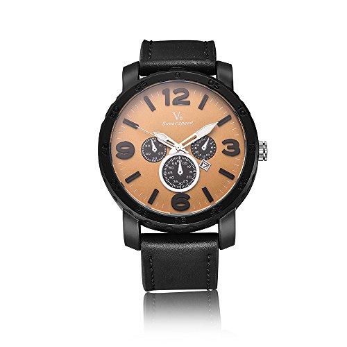 V6Herren Uhren wasserdicht Fashion Casual Super Speed PU Lederband Quarz-ArmbandUhren