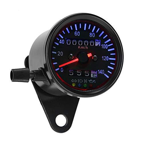 SANON Motocicleta Doble Odómetro Velocímetro Medidor Kit Cafe Racer Retroiluminación Led 12 V