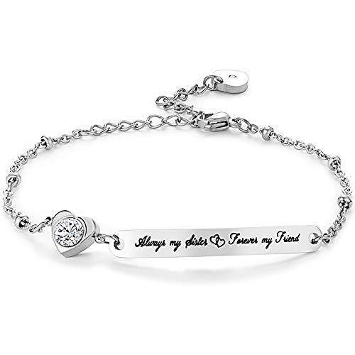 Gleamart Always My Sister Forever My Friend Inspirational Bracelet Adjustable Bangle Gift for Women 01