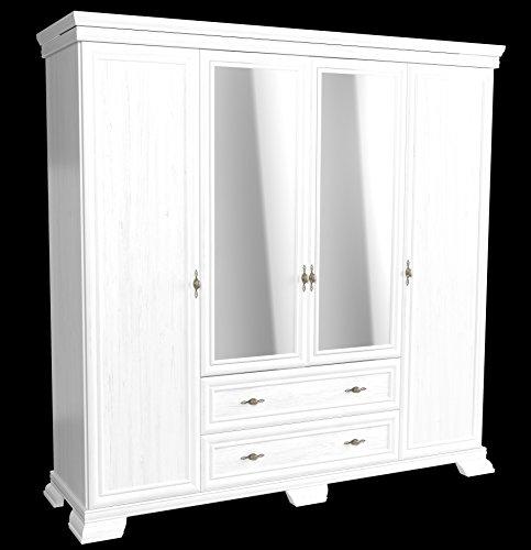 Furniture24 Kleiderschrank Kora KS3 Schrank Drehtürenschrank mit 4 Türen 2 Schubkasten und Spiegel (Andersen Kiefer)