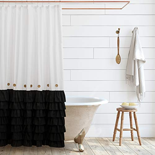 Shaina White and Black Shabby Chic Shower Curtain 72 x 72 with Farmhouse Ruffles and French Country Style Buttons - Modern Farmhouse Shower Curtain Fabric (Black)