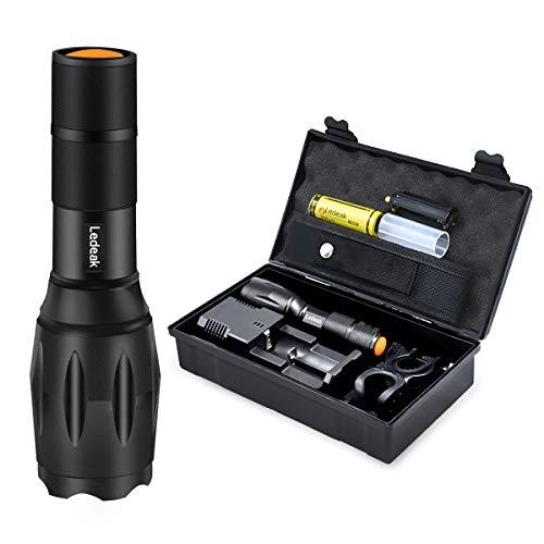 Ledeak Linterna LED Recargable, Linterna de Mano Alta Potencia Tactica Militar, Portátil resistente al agua Zoomable Super Brillante Antorcha de 5 Modos, 18650 Batería Incluidas