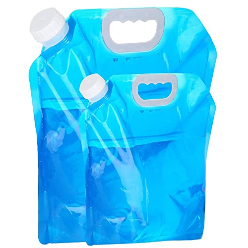 WWJQ Bolsa Agua para Aire Libre Ahorro de Espacio, 2 Piezas de Recipiente para Agua para Auto con Tapón Rosca, Portador de Agua Plegable de Plástico Azul para Emergencia de Acampar