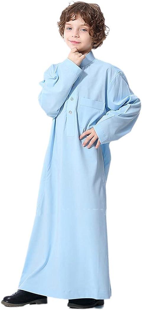 KEHAIEN Muslim Robe Teenager Kids Saudi Arabia Pakistan Boy Thobe Middle East Full Sleeve Jubba Islamic Party Thobe Kaftan