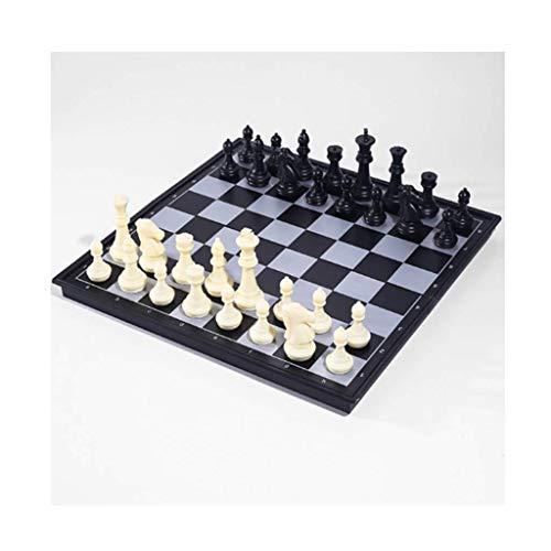 Juego de ajedrez Juegos l Adultos Niños Tablero de ajedrez Juego de ajedrez Juego de tablero de ajedrez estándar magnético plegable con piezas hechas a mano Juego de tablero El ajedrez portátil, E