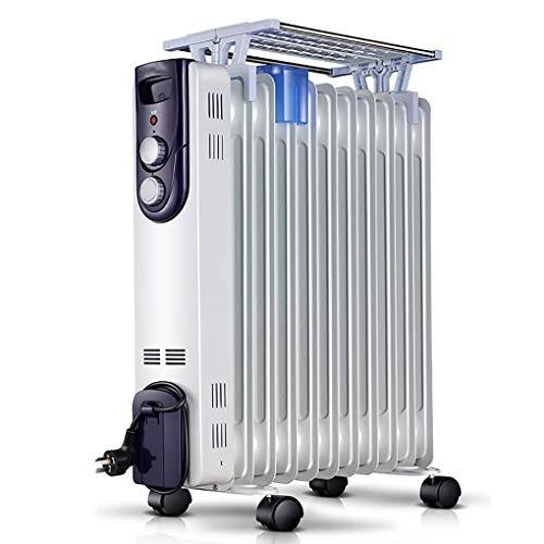 ZDHG Radiador,Radiador De Aceite,Inicio 2000W / Calentador Eléctrico Portátil con Termostato, 3 Configuraciones De Temperatura, Termostato Y De Cierre De Seguridad