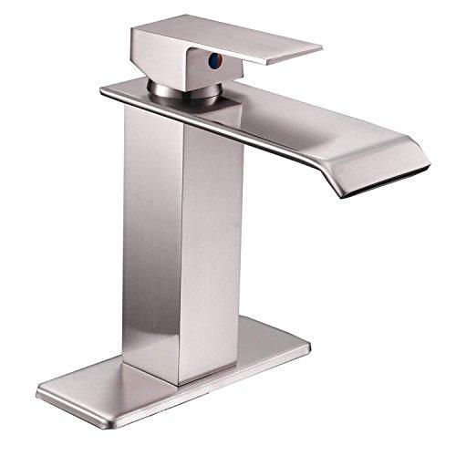 Era Waterfall - Grifo de lavabo con un solo agujero para lavabo (níquel cepillado)