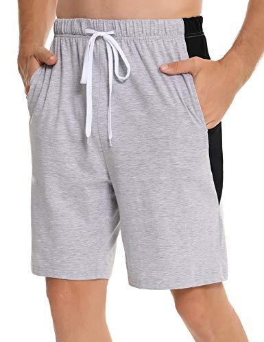 Irevial Short Homme Coton Pantalon Court Homme Été Bas de Pyjama avec Poches et Cordon de Serrage, L, Gris