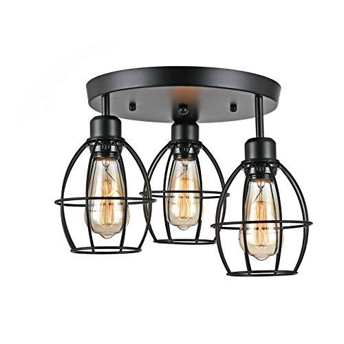 Futchoy - Plafón de techo retro LED lámpara colgante jaula metálica 3 bombillas E27 60 W para salón, dormitorio, comedor, 220 – 240 V