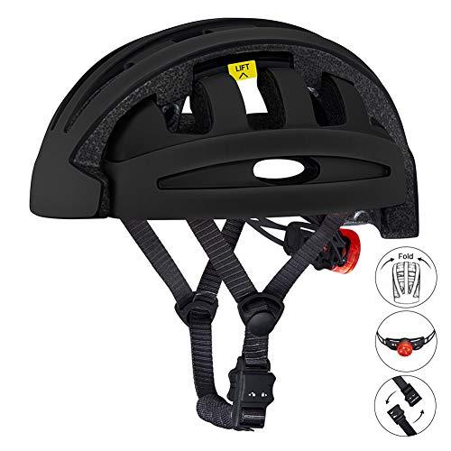 BLLJQ Aerodynamik Größe Specialized Fahrradhelm Zusammen Klappbarer Fahrradhelm, mit LED Warnleuchte, Komfortabel leicht Atmungsaktiv für Fahrrad Rennrad BMX Fahren,Schwarz