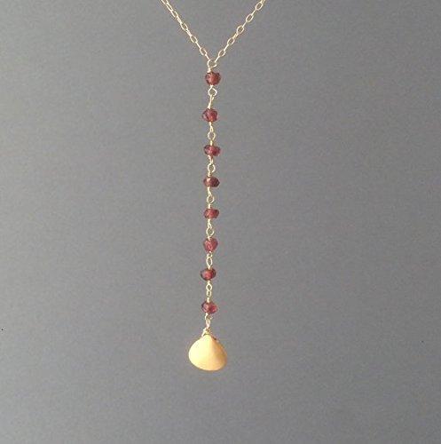 14k Gold Filled Y Necklace Gemstone Lariat Necklace Teardrop Gemstone Y Necklace Sterling Silver Lariat