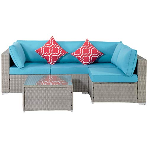 CUISIDIAO 5 Pieces Of Outdoor Garden Patio Furniture Sets, PE Rattan Wicker Sectional Upholstered Sofa Set, With 2 Pillows And Coffee Table, The Best Combination For Gardens, Backyards And Terraces fa