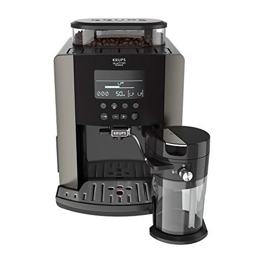 Krups EA819E Arabica Latte Quattro Force Kaffeevollautomat (1450 Watt, Wassertankkapazität: 1,7 Liter, Pumpendruck: 15 bar, LCD-Display) Platin-schwarz