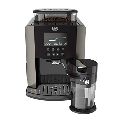 Krups EA819E Arabica Latte Quattro Force Volautomatische espressomachine, 1450 watt, capaciteit waterreservoir: 1,7 liter, pompdruk: 15 bar, LCD-display) platina-zwart