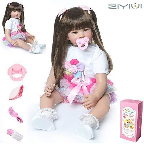 ZIYIUI 22 inch 55cm Bambole Reborn Femmine in Silicone Morbido Realistico Occhi Aperti Neonato Bambino Bambola Capelli Lungo Baby i Regali per Bambini