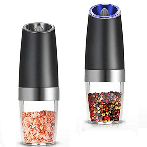 TOOGOO Premium Gravity Electric Salt and Pepper Grinder Set of 2 Battery Powered Salt Shakers, Automatic One Hand Pepper Mills with LED Light, Adjustable Coarseness (Black)