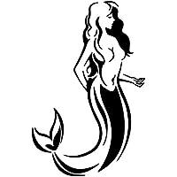 HTTY 11.6 * 17.8CMマーメイド部族ファンタジーオーシャンガール魚カーウィンドウビニールデカールステッカーブラック/シルバー (Color Name : Black)