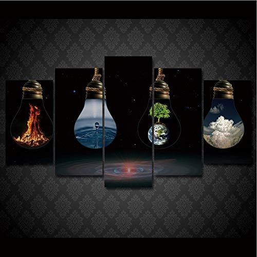 lbonb (Pas De Cadre) Grand Affiche HD Imprimé Peinture 5 Panneau Spécial Lampe Paysage Impression sur Toile Art Décor À La Maison Mur Photo pour Le Salon