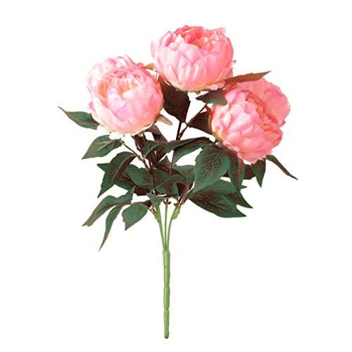 WINOMO Bouquet de Fleurs de Soie Artificielle Pivoine (Rose)