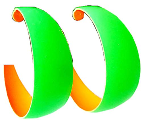 Evil Wear Damen Ohrringe 2Stk Neon Party Creolen Disco viele Farben 4,5cm: Farbe: grün