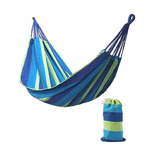 Ltong 2 Personen Gestreepte Hangmat Outdoor Leisure Bed Verdikt Canvas Hangbed Slaapschommel Hangmat Voor Kamperen, Blauw
