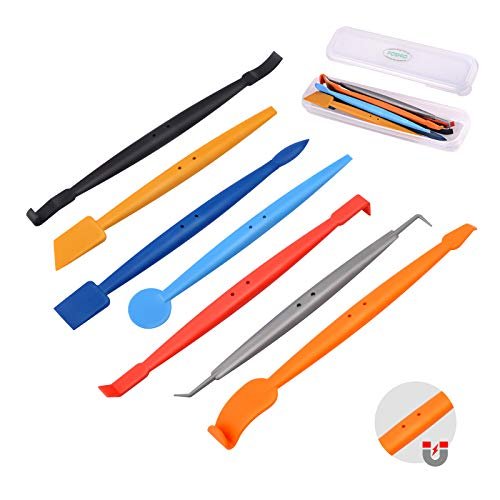 FOSHIO Car Vinyl Wrap Tool Kit 7 in 1 Flexible Magnetic Micro Stick Squeegee Curves Slot Tint Tool Kit with 14 Working Angles Fit for Installing All Contour Vehicle Wraps & Auto Stickers