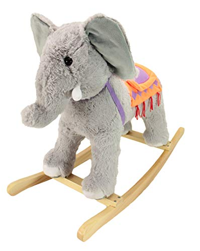 Great Price! Animal Adventure | Real Wood Ride-On Plush Rocker | Gray Elephant | Perfect for Ages 3+...